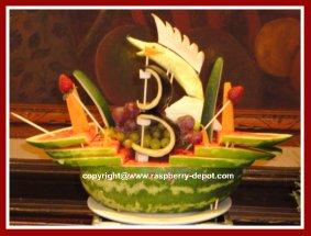 Watermelon Sculpture of a Ship