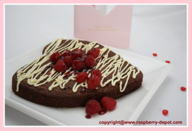 Heart Shaped Recipe/Brownie Cake with Raspberries