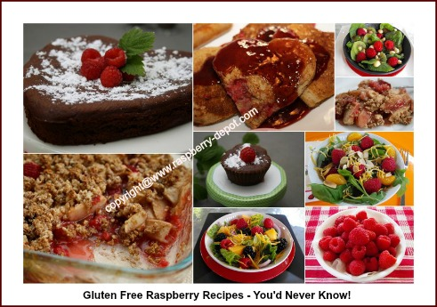 Collage Picture of Gluten Free Raspberry Recipes