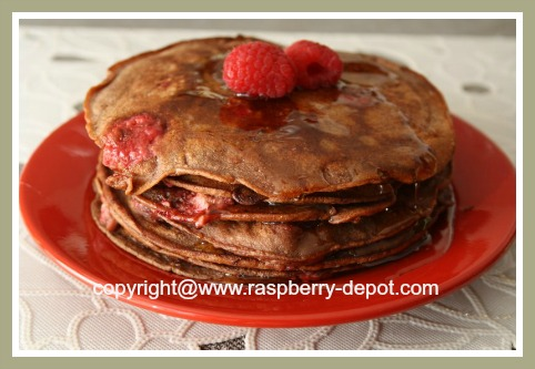Chocolate Raspberry Low Fat Pancakes