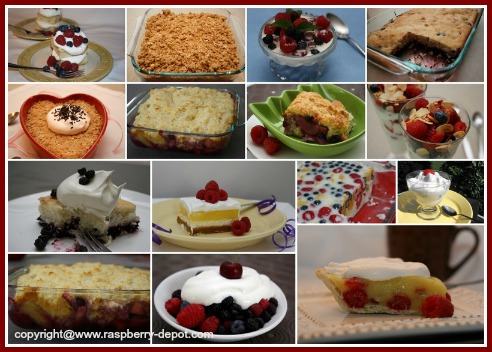 Picture Collage of Raspberry Dessert Recipe Ideas