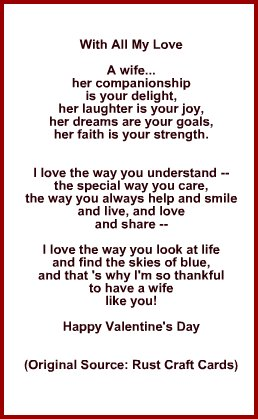Idea for Poem or Verse for Inside Card for Wife on Valentine's Day