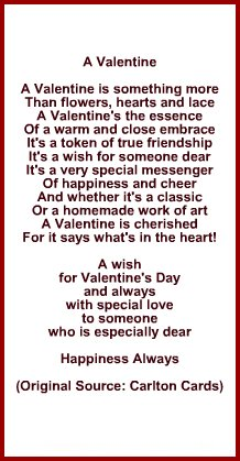 Poem or Verse for Wife or Husband for Valetine's Day
