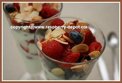 A Yogurt Parfait with Fresh Berries - Strawberries, Blueberries, Raspberries for Healthy Breakfast or Dessert Idea